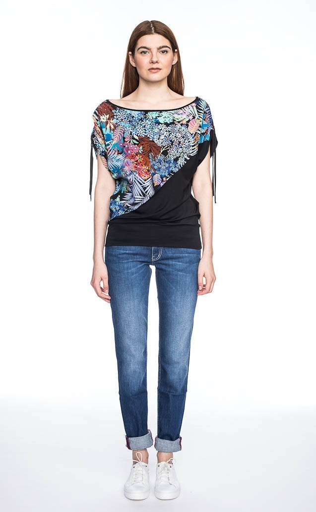 Shirt Mona, tropische bloemen print