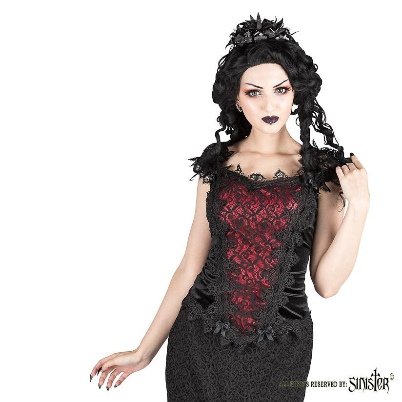 Top Scarlett, zwart fluweel met rood satijn, kant en satijn strikjes