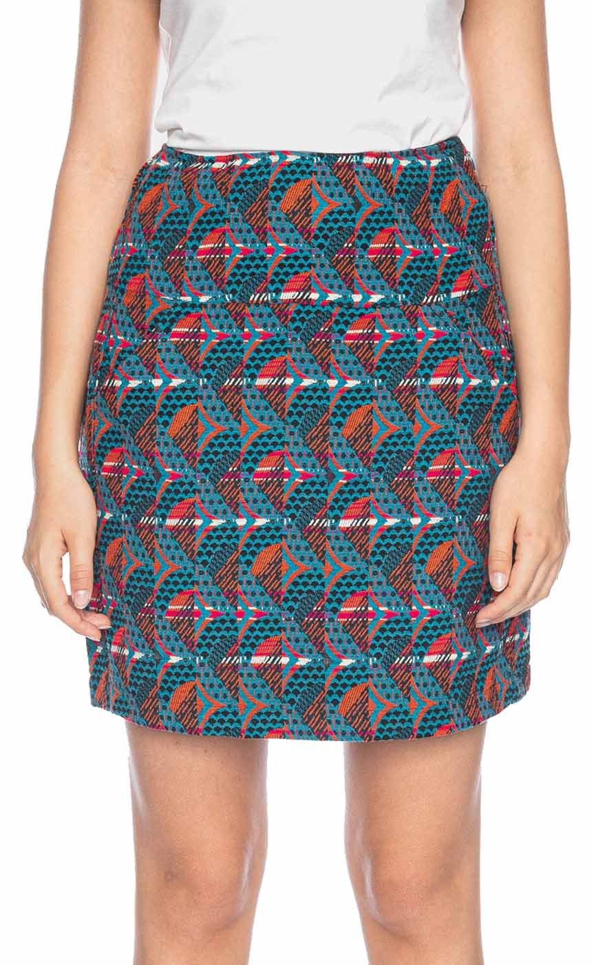 Rok Hilly, high waisted, jacquard patroon, turquoise