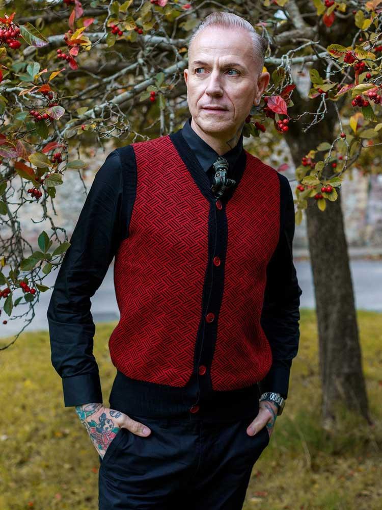 Collectif | Bordeaux gebreid vest Lex Kentish