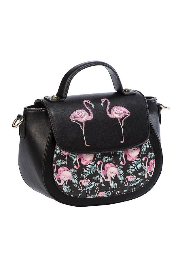 Banned - Schoudertas Malibu, zwart met roze flamingo's