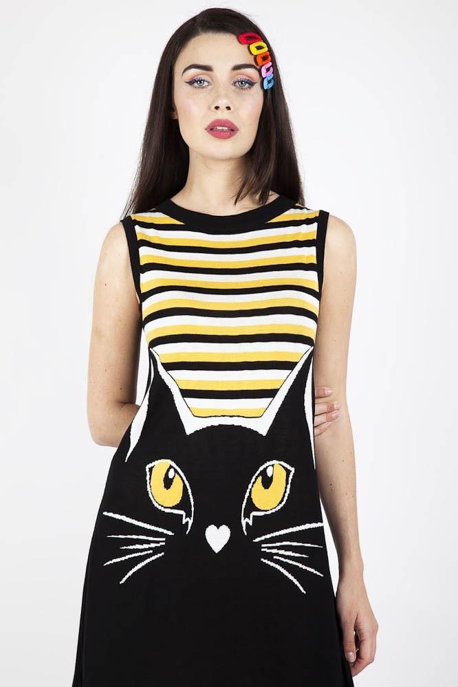 Jurk Telepathic Cat, zwart geel