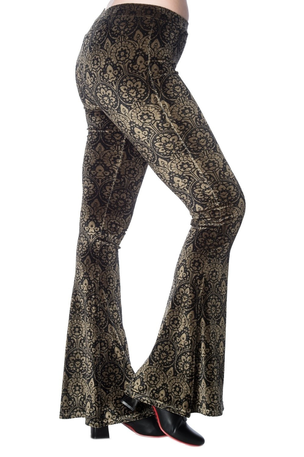 Flared broek bell bottom damask print