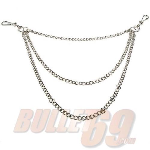 Bullet69 - Sleutelhanger met 3-dubbele zilverkleurige ketting