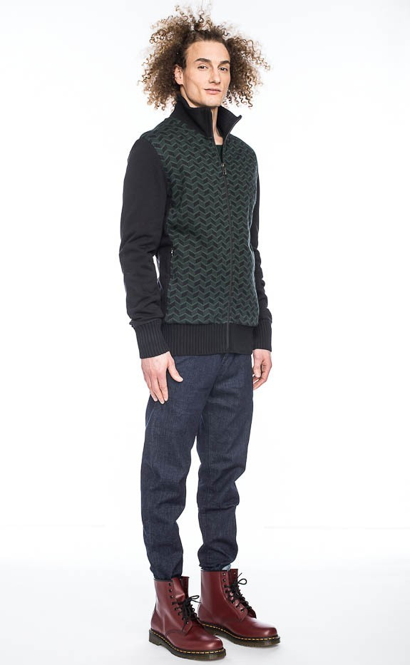 Vest Toni, grafische print, donkergroen zwart