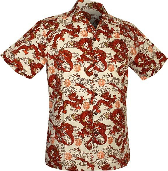 Chenaski - Overhemd korte mouw, Dragon print, creme orange
