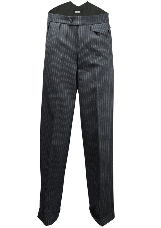 Fishtail broek Bertie, grijze pinstripe