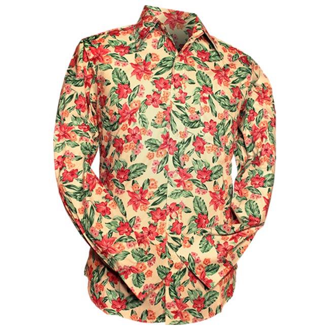 Chenaski | Overhemd 70s Flowers, creme pink green