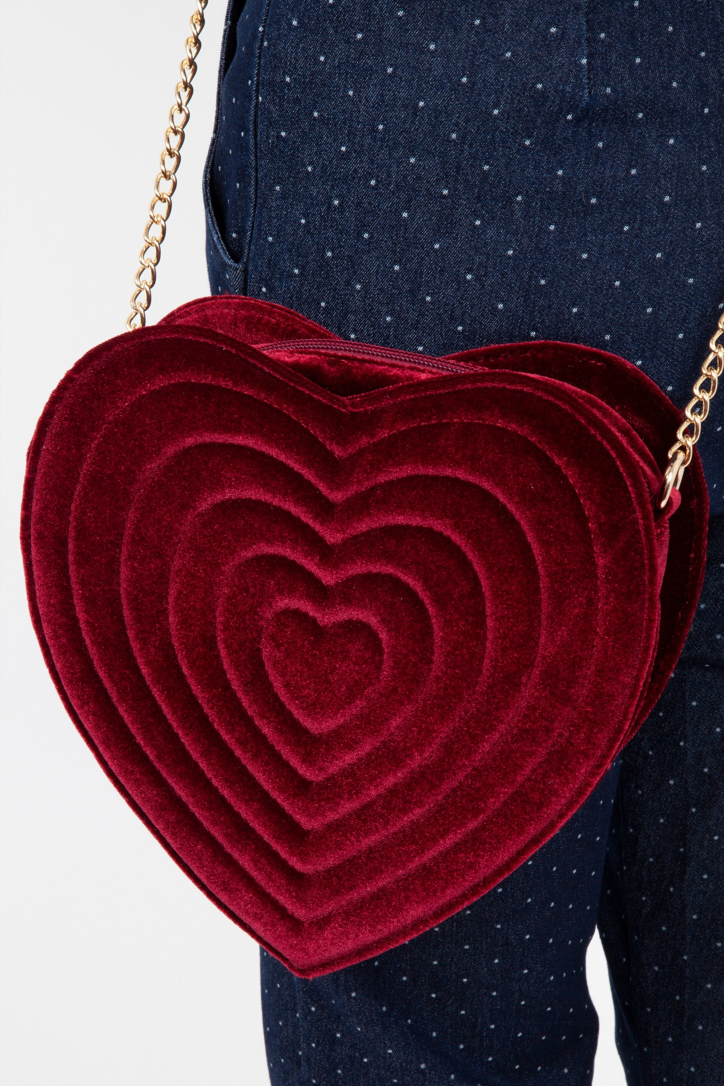 Schoudertas, Rood fluweel hart