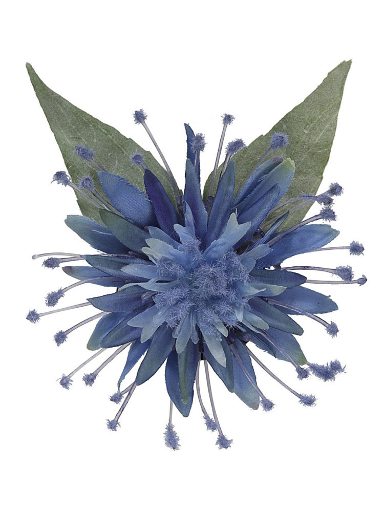 Collectif - Haarbloem en broche Elma, blauwe bloem