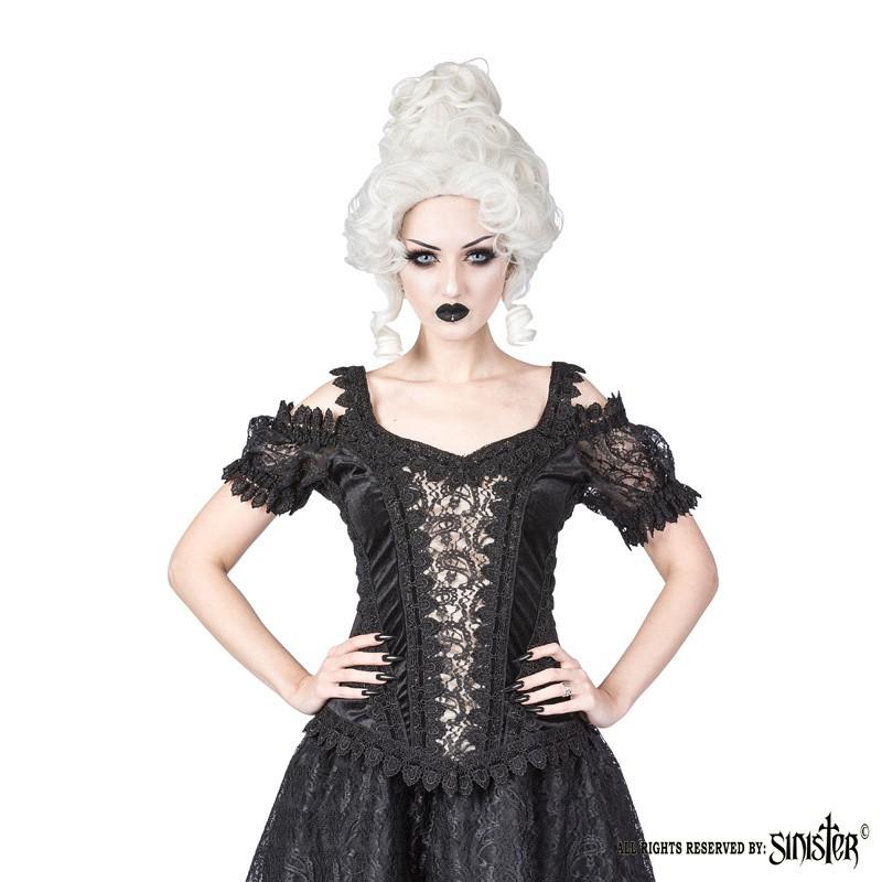 Top Olivia, zwart fluweel met ivory satijn en pofmouwen