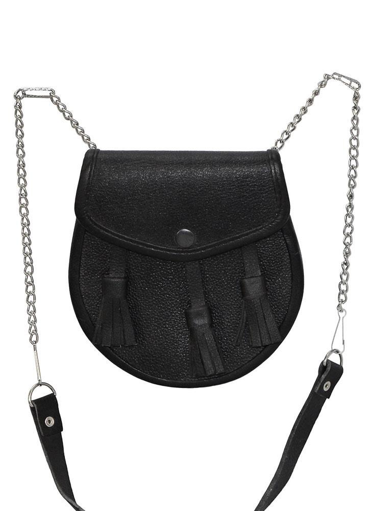 Leren kilt tas, zwart met relief