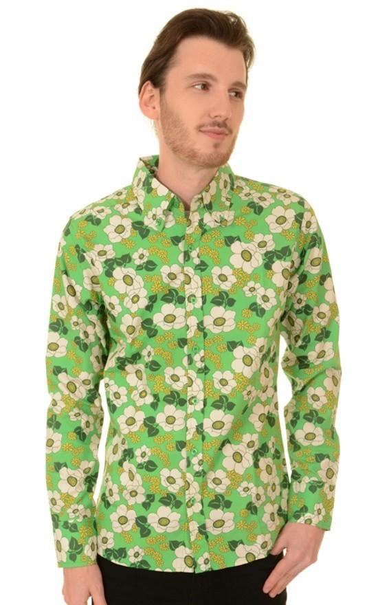 Overhemd retro, floral poppy button down groen