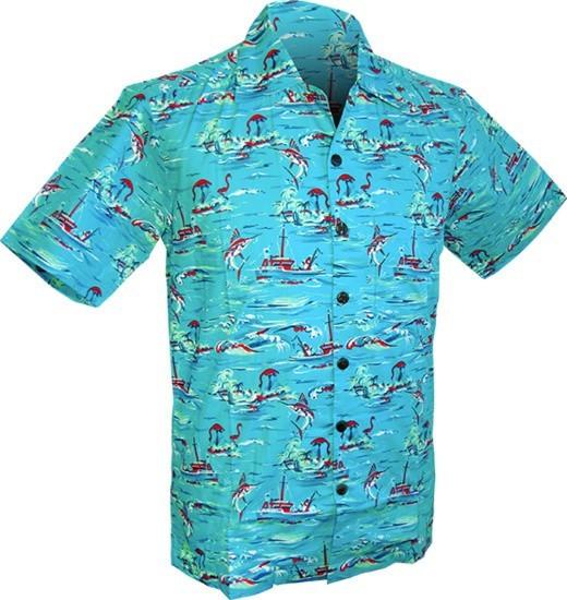 Chenaski | Overhemd korte mouw, Ocean view, turquoise