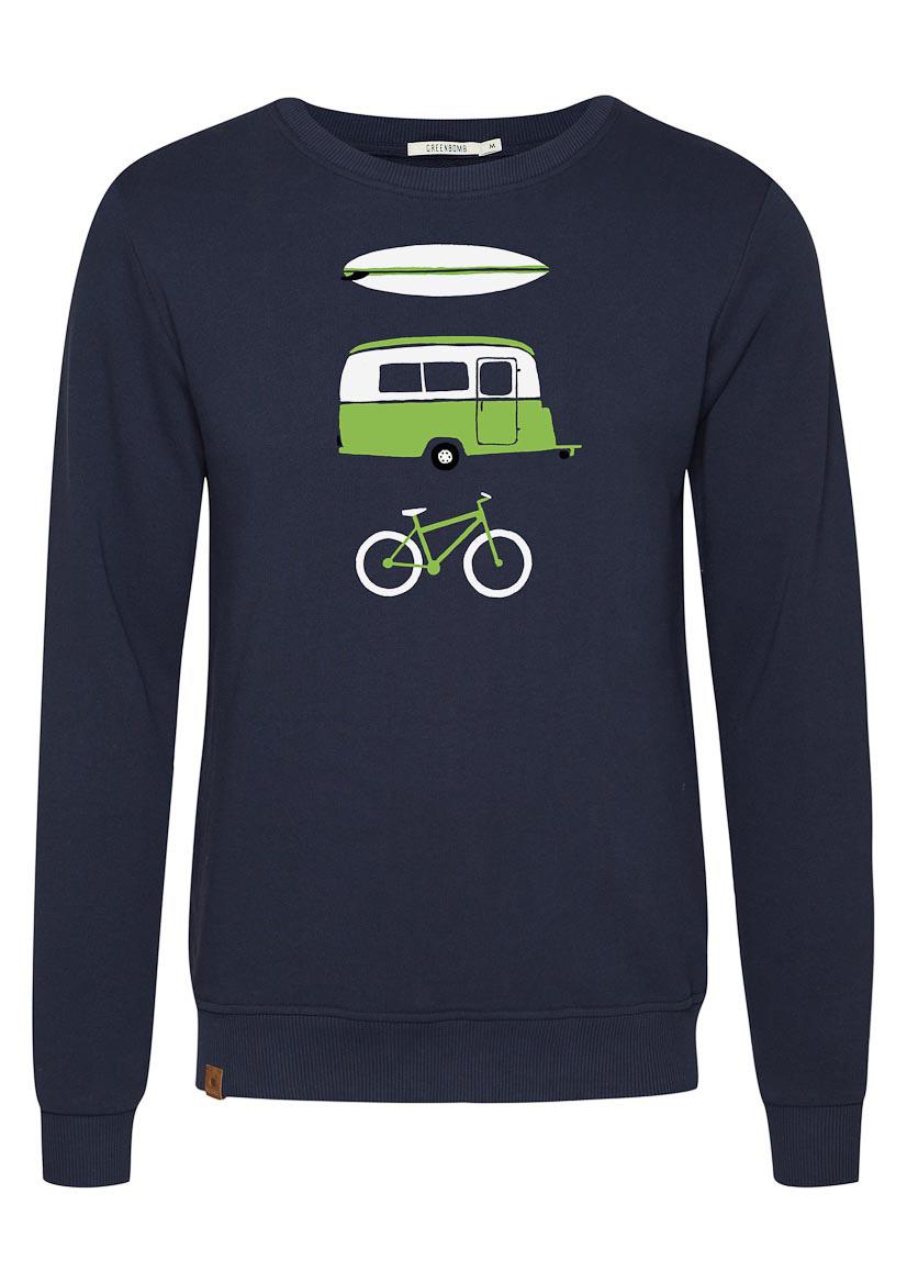 Green Bomb | Trui sweater Nature Fun, navy blauw bio katoen