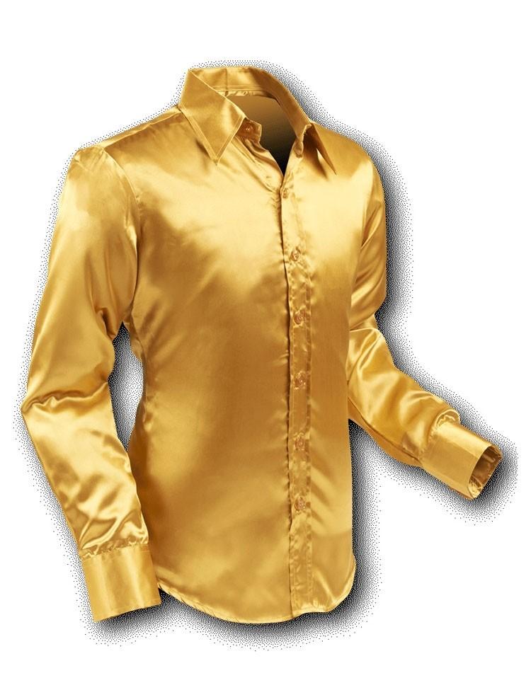 Overhemd 70s Basic Gold-Satin