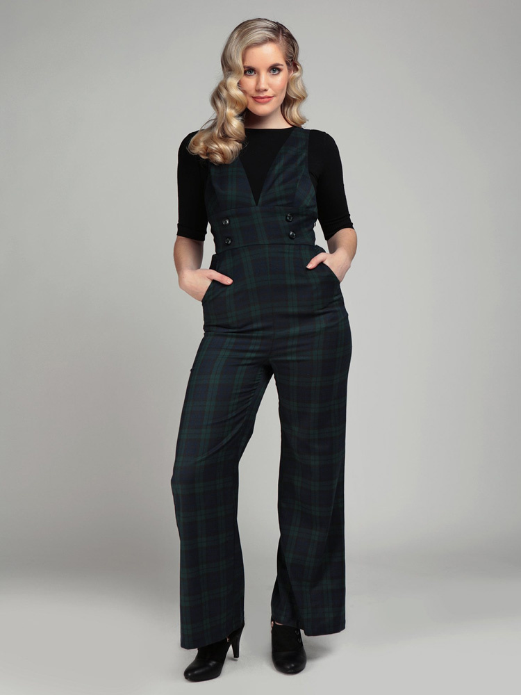 Collectif Jumpsuit Sophi, blackwatch tartan