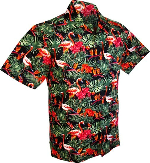 Overhemd korte mouw, Flamingos in the Jungle, zwart