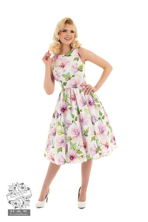 Hearts & Roses - Swingjurk Gloria, met bloemenprint, wit