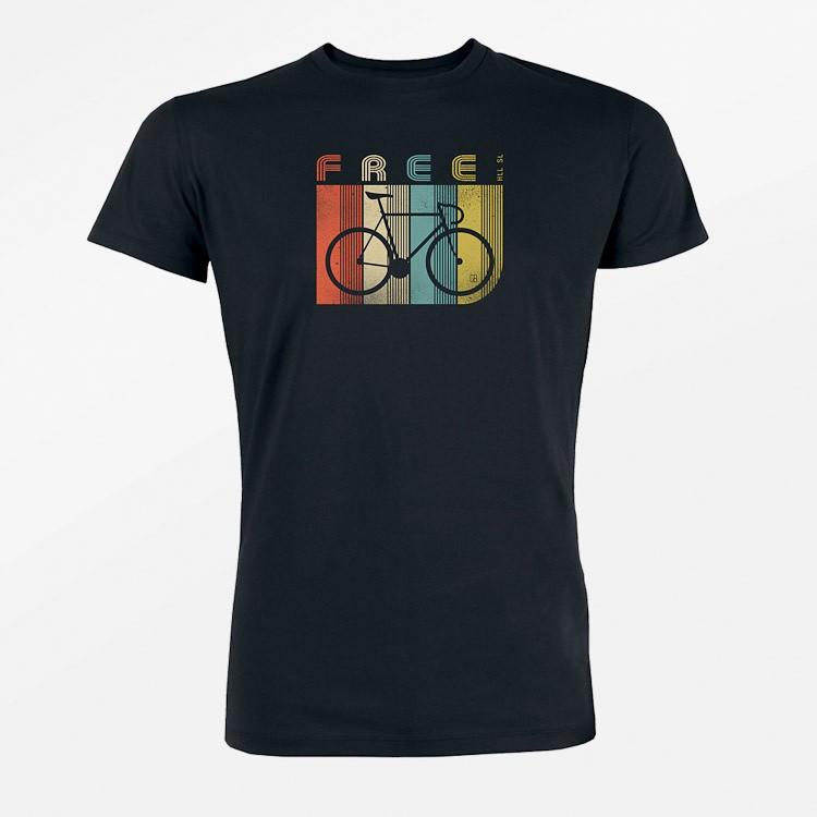 T-shirt Bike Retro Stripes, zwart