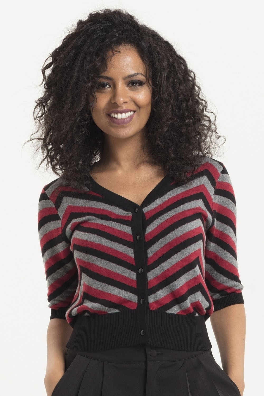 Cardigan Eliana, zwart met burgundy chevron patroon