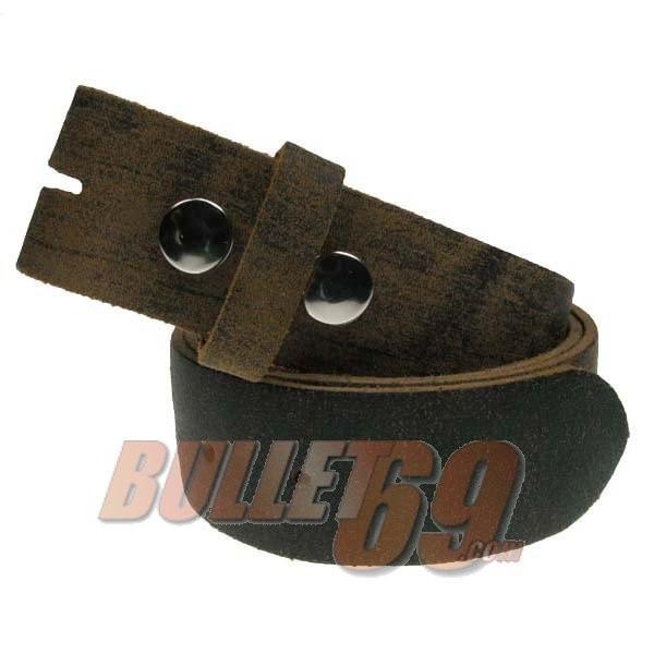 Bullet69 - Leren riem, 38mm - ruig bruin leer met afneembare gesp