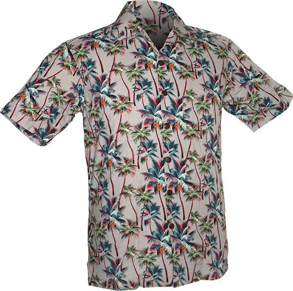 Chenaski - Overhemd korte mouw, Palm Trees, grijs