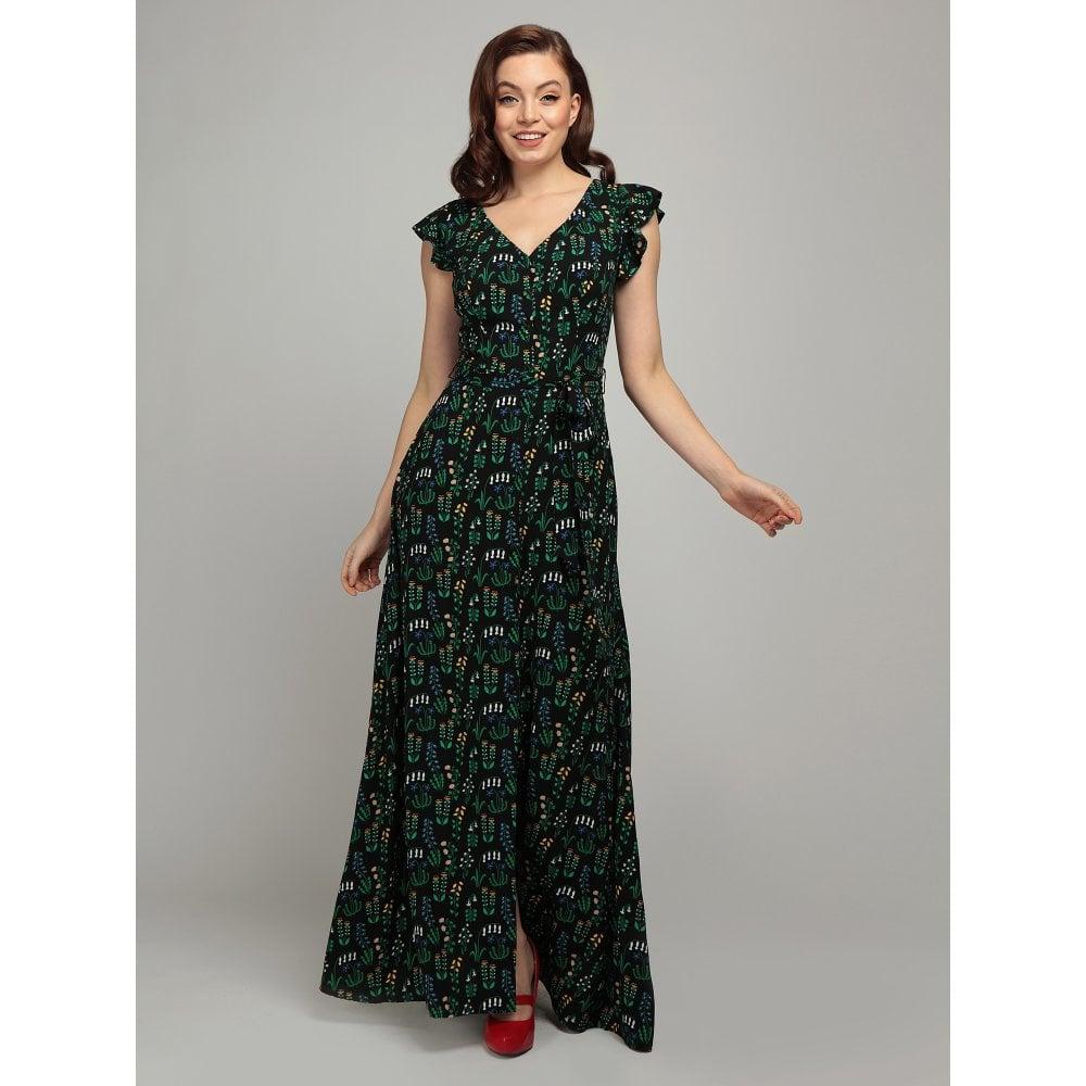 Collectif | Maxi jurk Thelma Greenhouse zwart met botanische bloemen