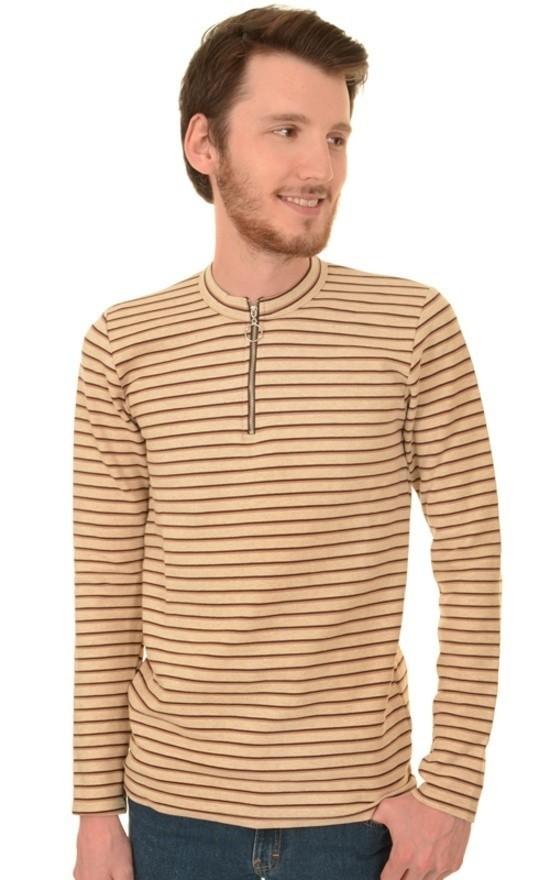 Shirt met lange mouwen gestreept retro ecru