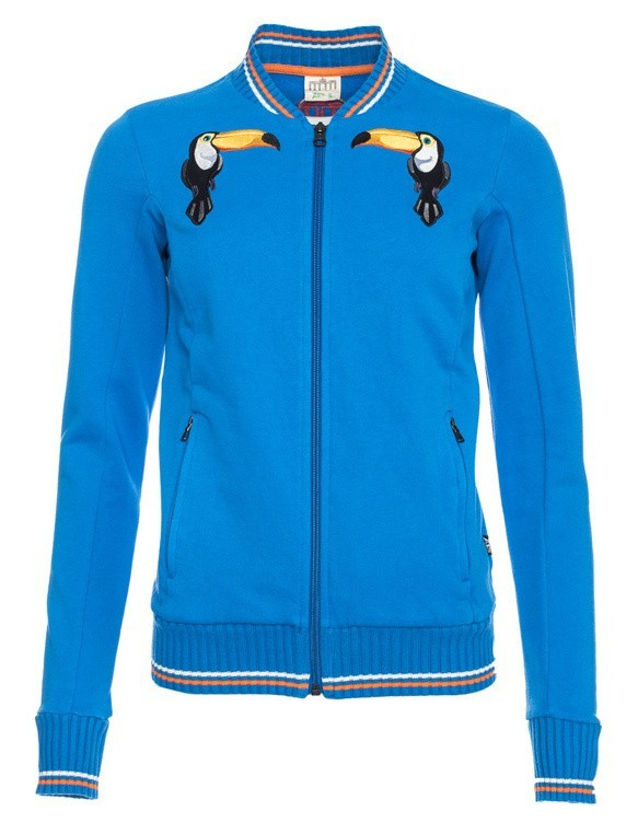 Sportjas Anne, helder blauw bio katoen Tukan borduursel