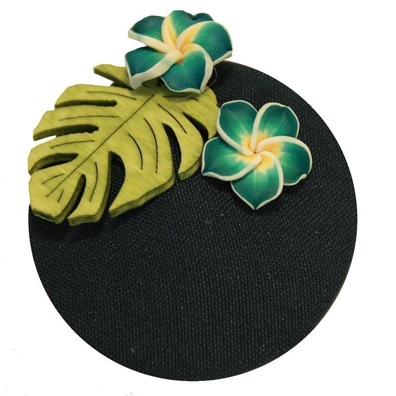 Miranda's Choice - Haarclip minihoed Aloha met bloem donkergroen