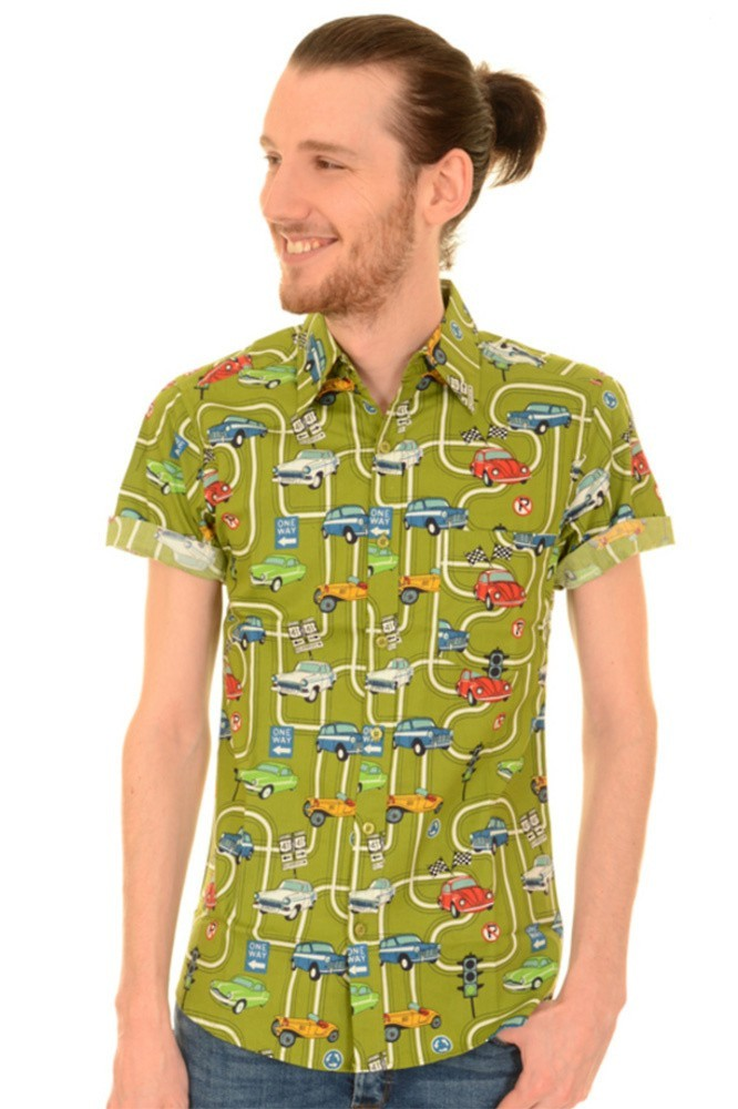 Overhemd Mintgroen.Run Fly Overhemd Korte Mouw Groen Met Oldtimer Print Online Kopen