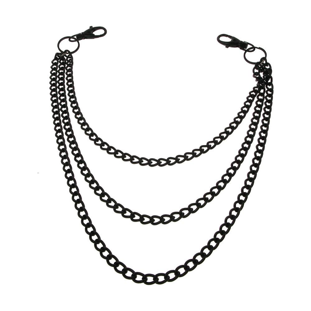 Sleutelhanger met 3-dubbele ketting, zwart metaal