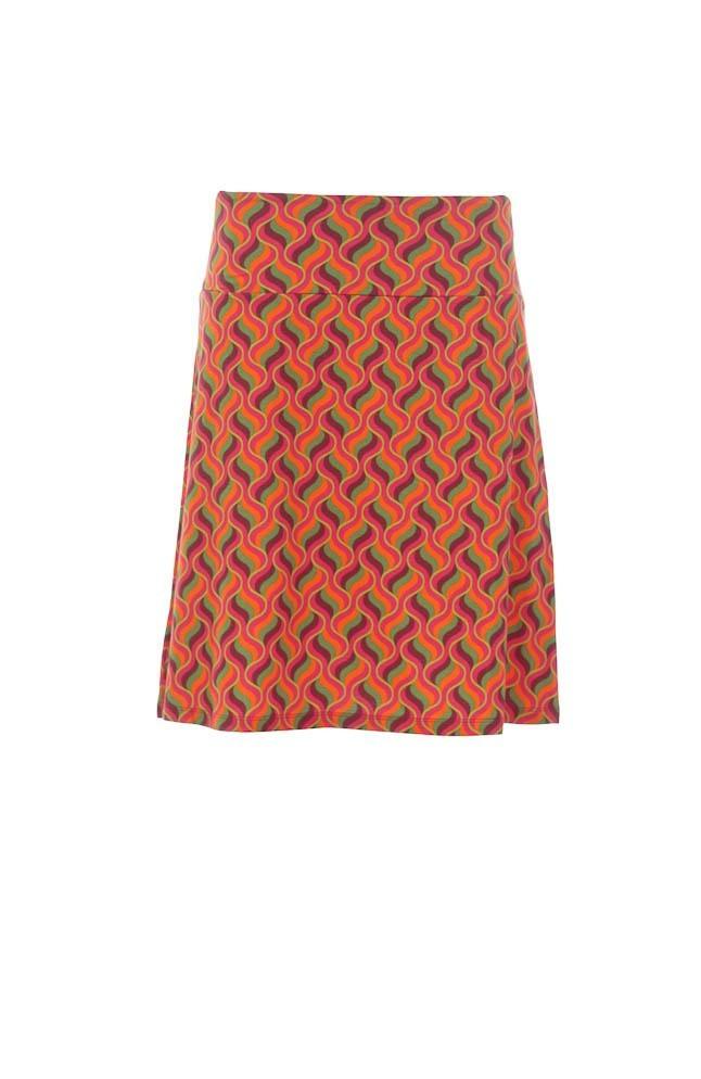 Rok a-lijn Lolly, roze oranje groen retroprint