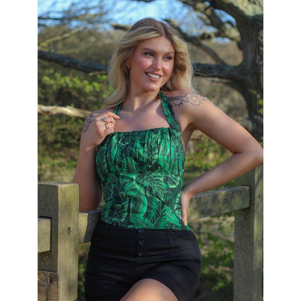 Collectif | Haltertop Kaylee Tropics groen