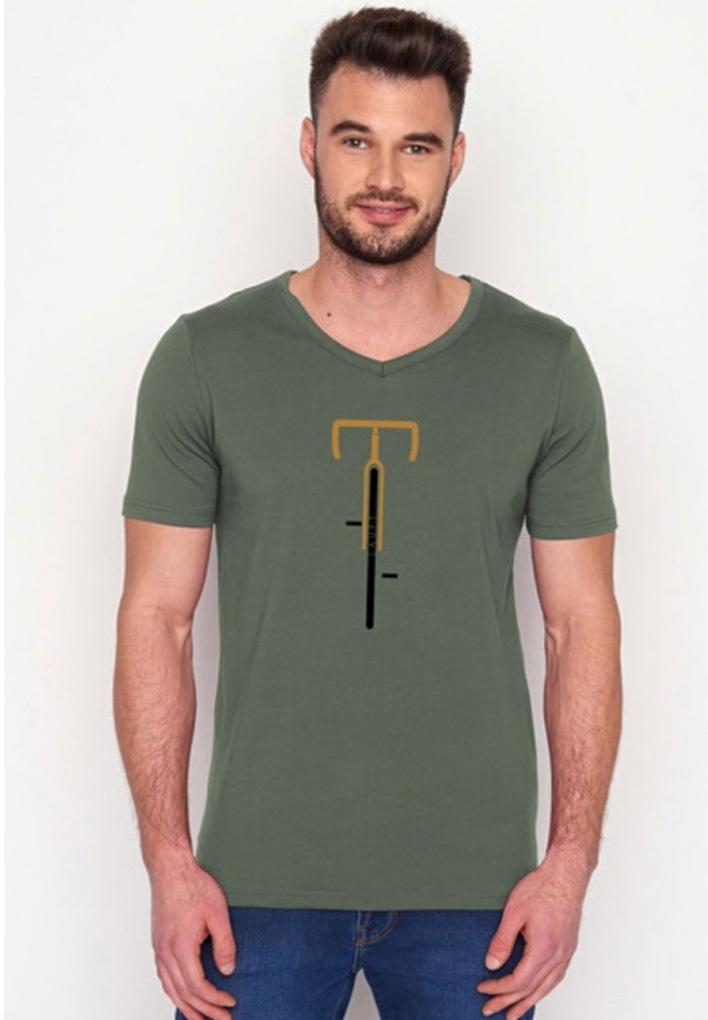 Green Bomb | T-shirt olijfgroen Bike Lauft bio katoen