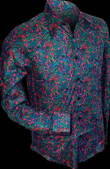 Overhemd retro, paisley pink blue