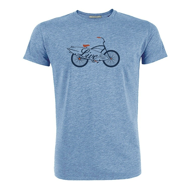 T-shirt bike live bio katoen mid heather blue