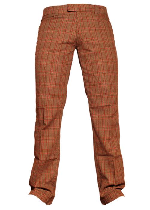 Chenaski | Rechte pantalon met bruin rode Scot ruit