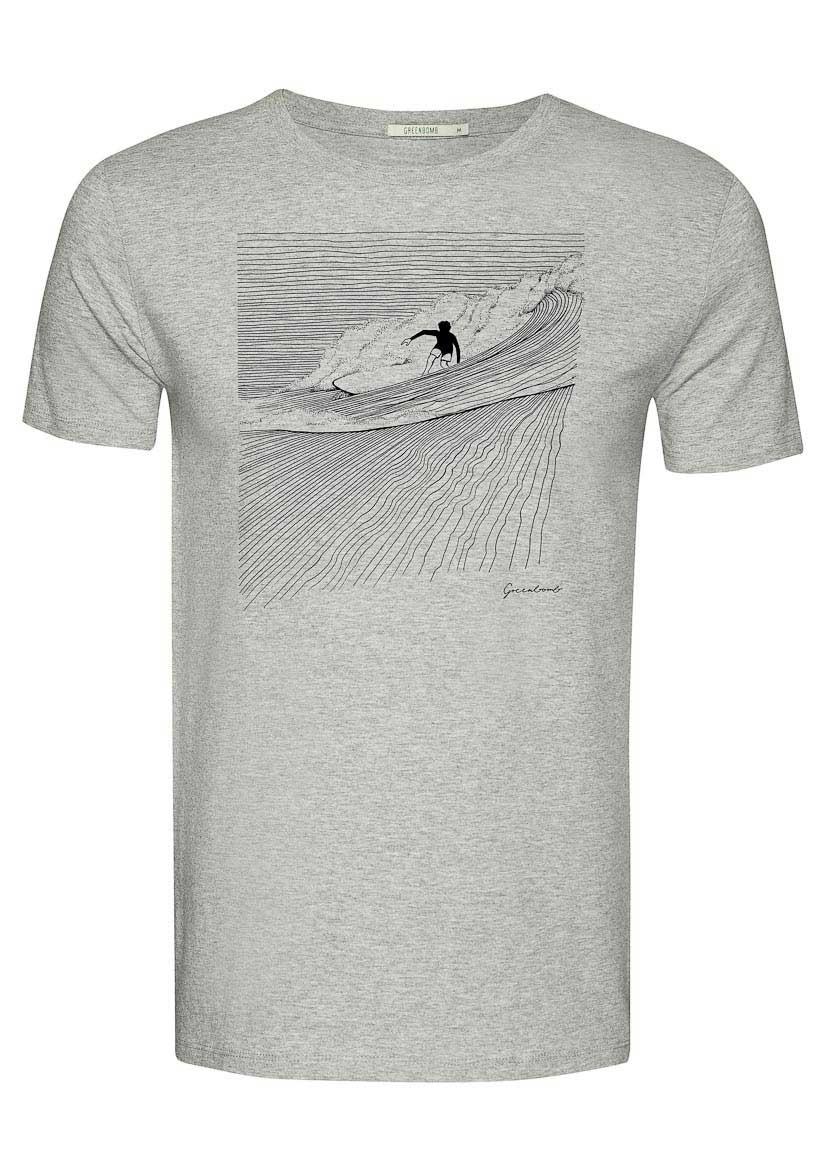 Green Bomb | T-shirt Nature Surfer, heather grey bio katoen