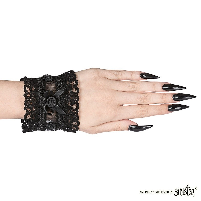 Cuffs Fawn, zwart pols-accessoires van kant met roosjes