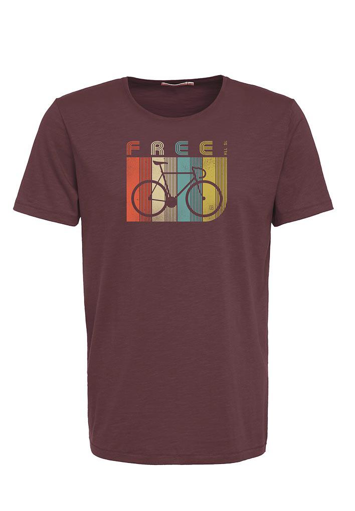 Green Bomb | T-shirt bruin Bike Retro Stripes bio katoen
