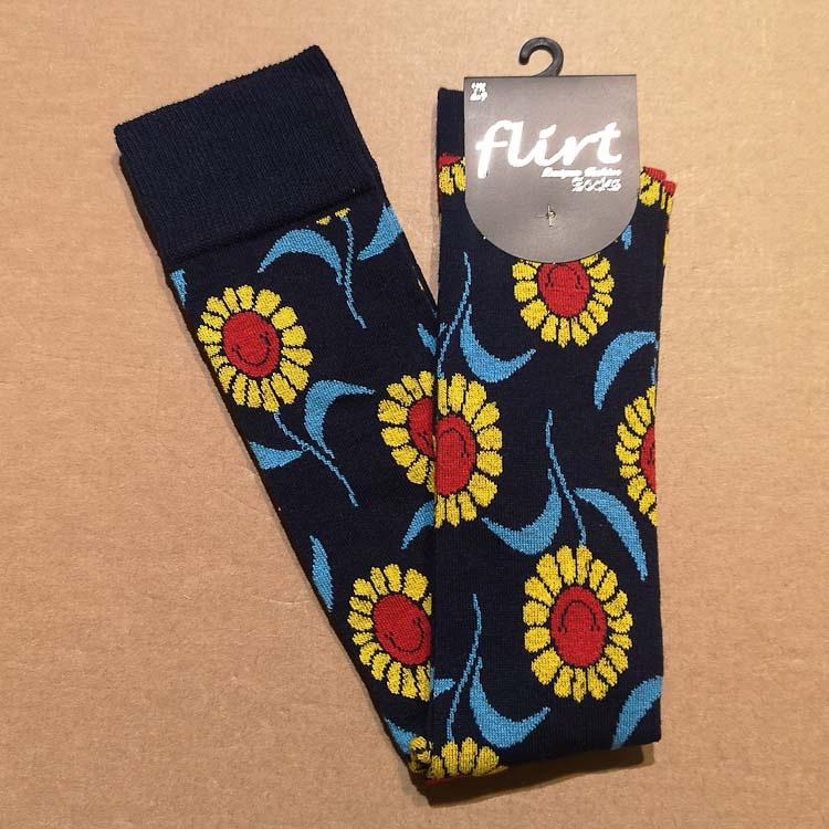 Flirt   Overknee sokken donkerblauw met zonnebloemen