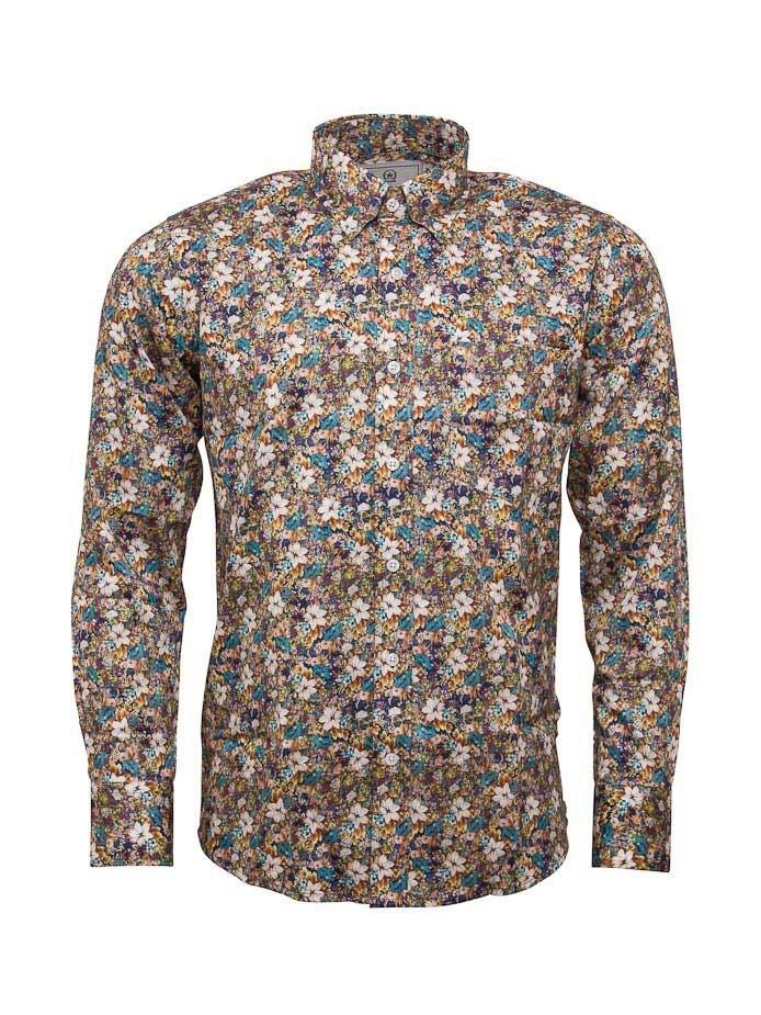 Overhemd met lange mouw, herfstbloemen print