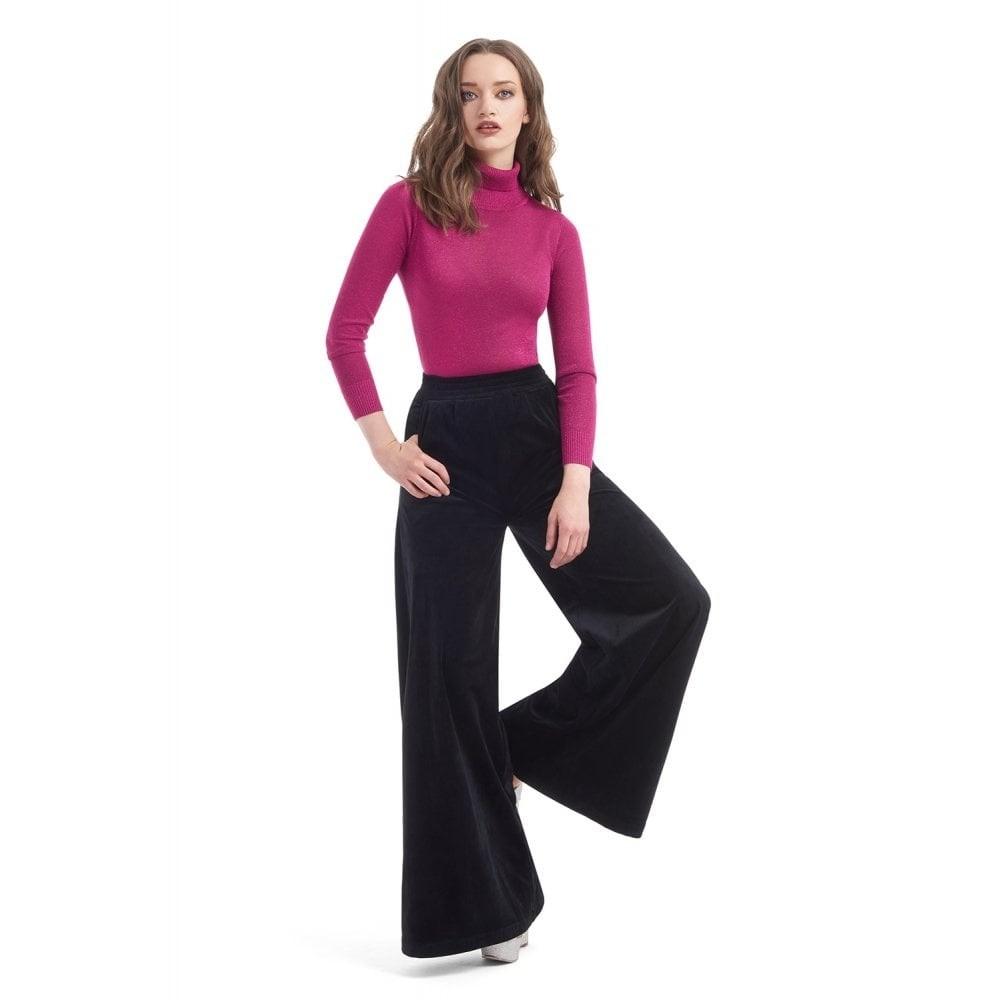 Broek Lucy zwart fluweel, ruimvallend model