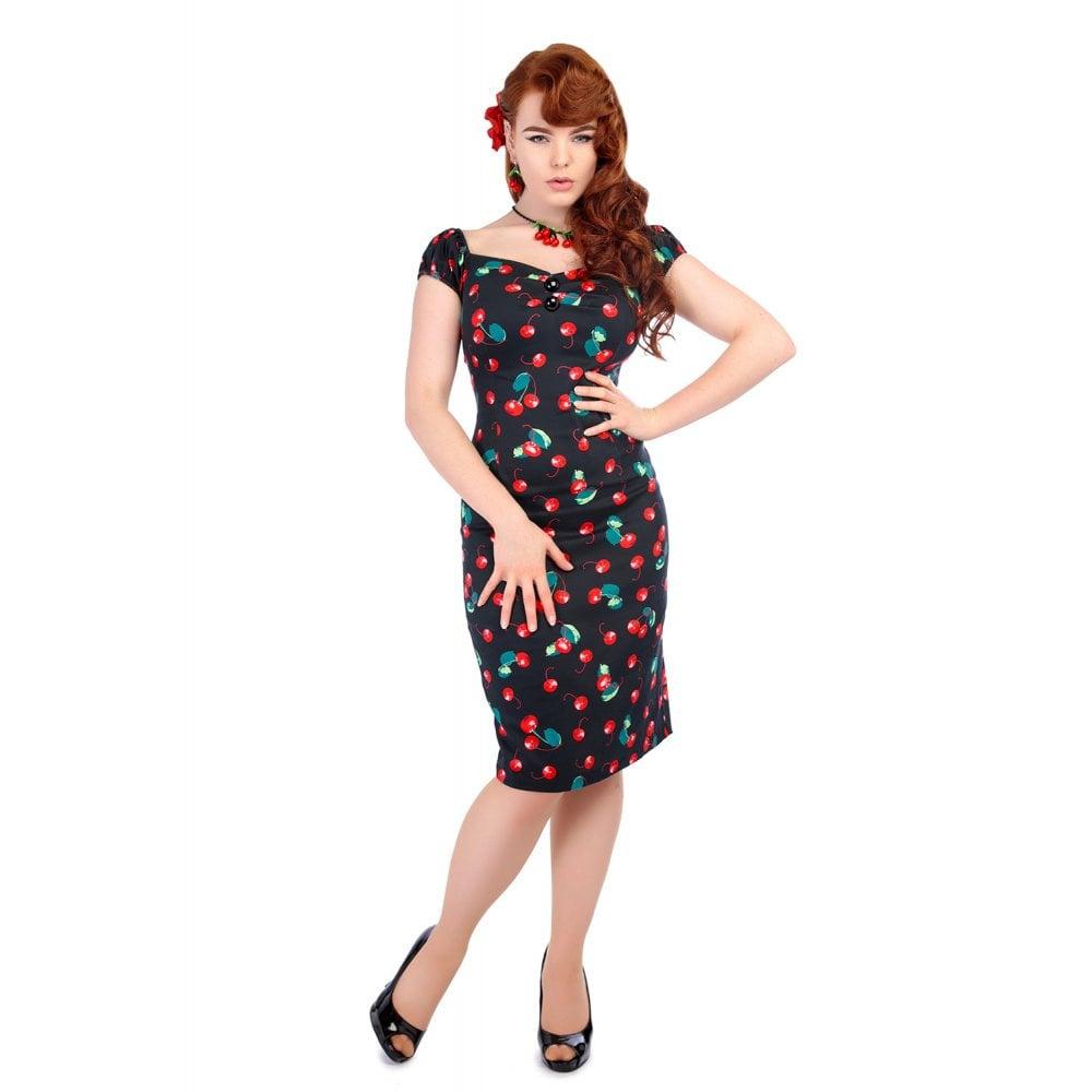 Collectif pencil jurk Dolores 50's zwart met rode kersen