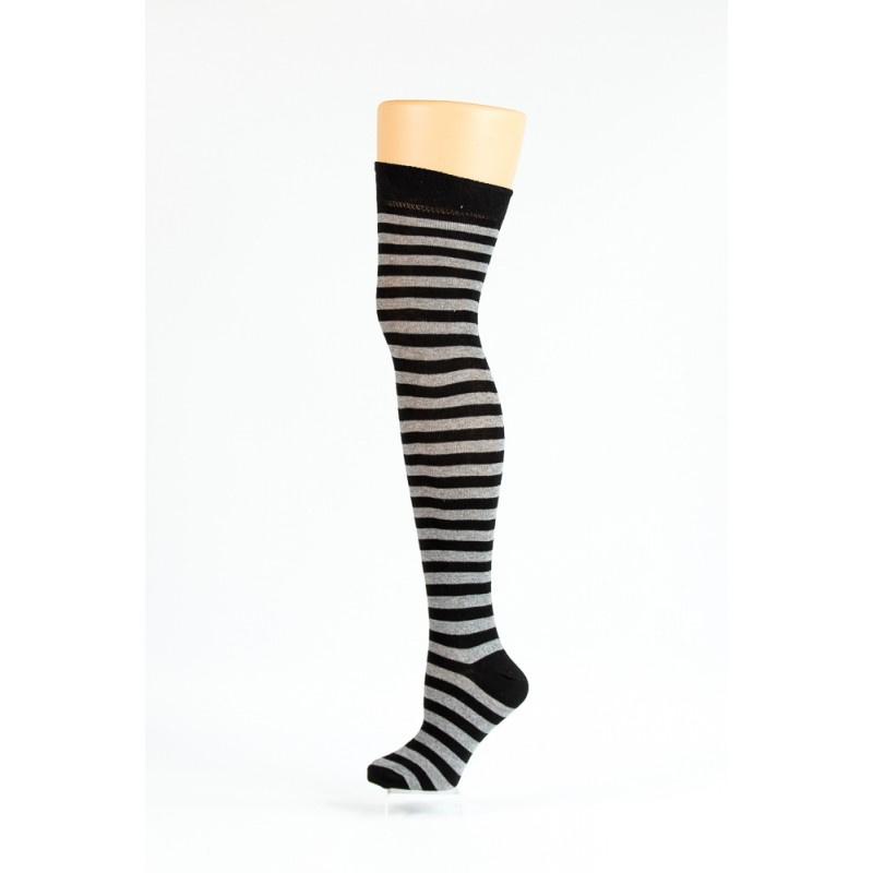 Flirt | Overknee sokken zwart grijs gestreept