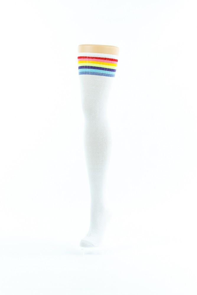 Flirt | Witte overknee sokken met regenboog rand lang