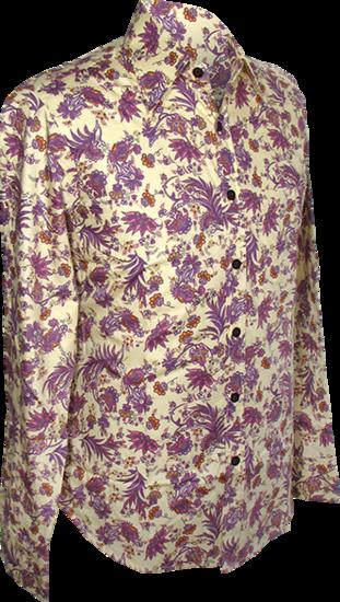 Overhemd, flowers & leaves creme violet