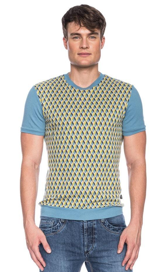 Ato Berlin, T-shirt Birk met blauw en geel grafisch retro patroon, biokatoen